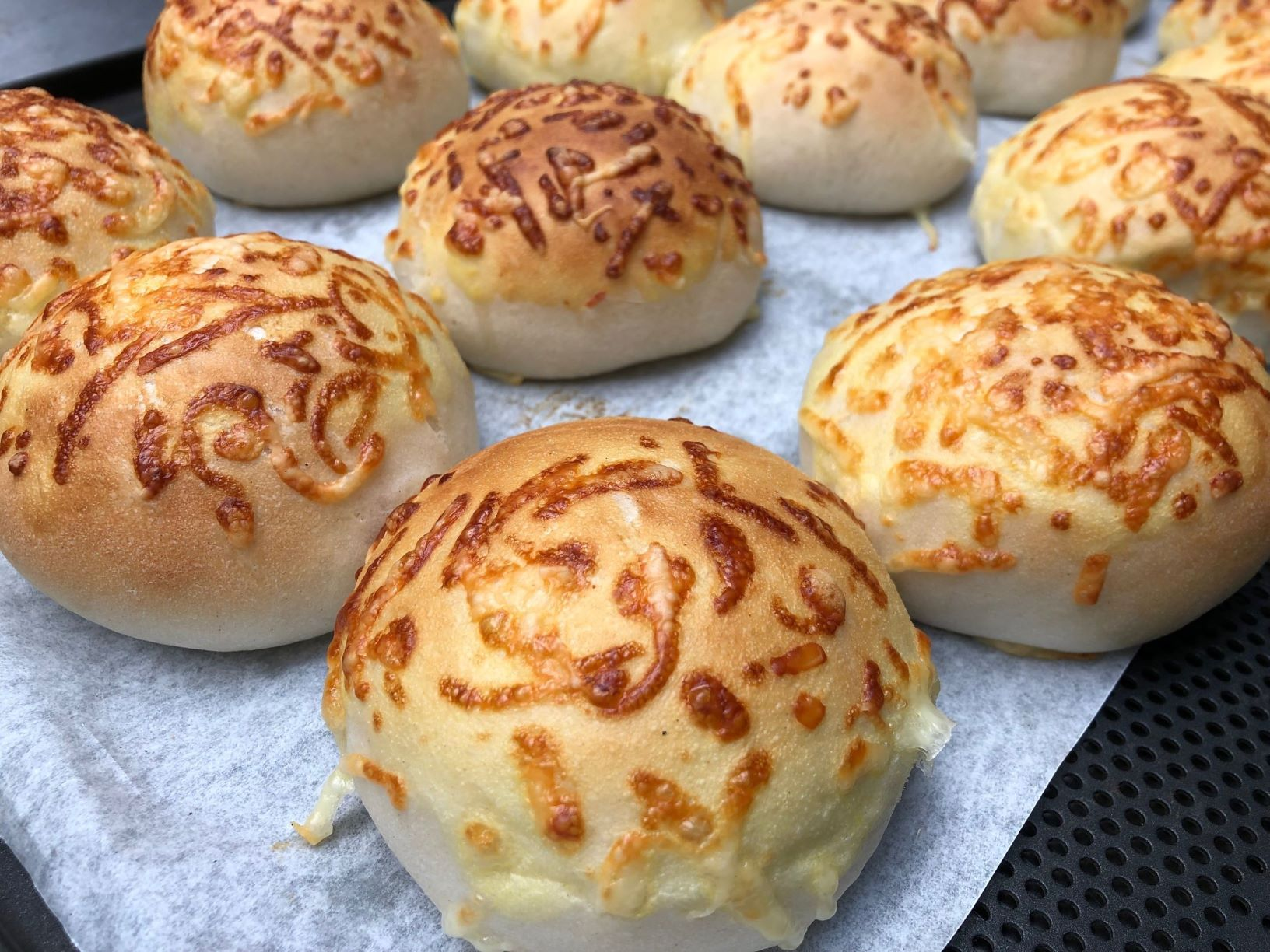 Cheese buns made with a FoodJet cheese depositor
