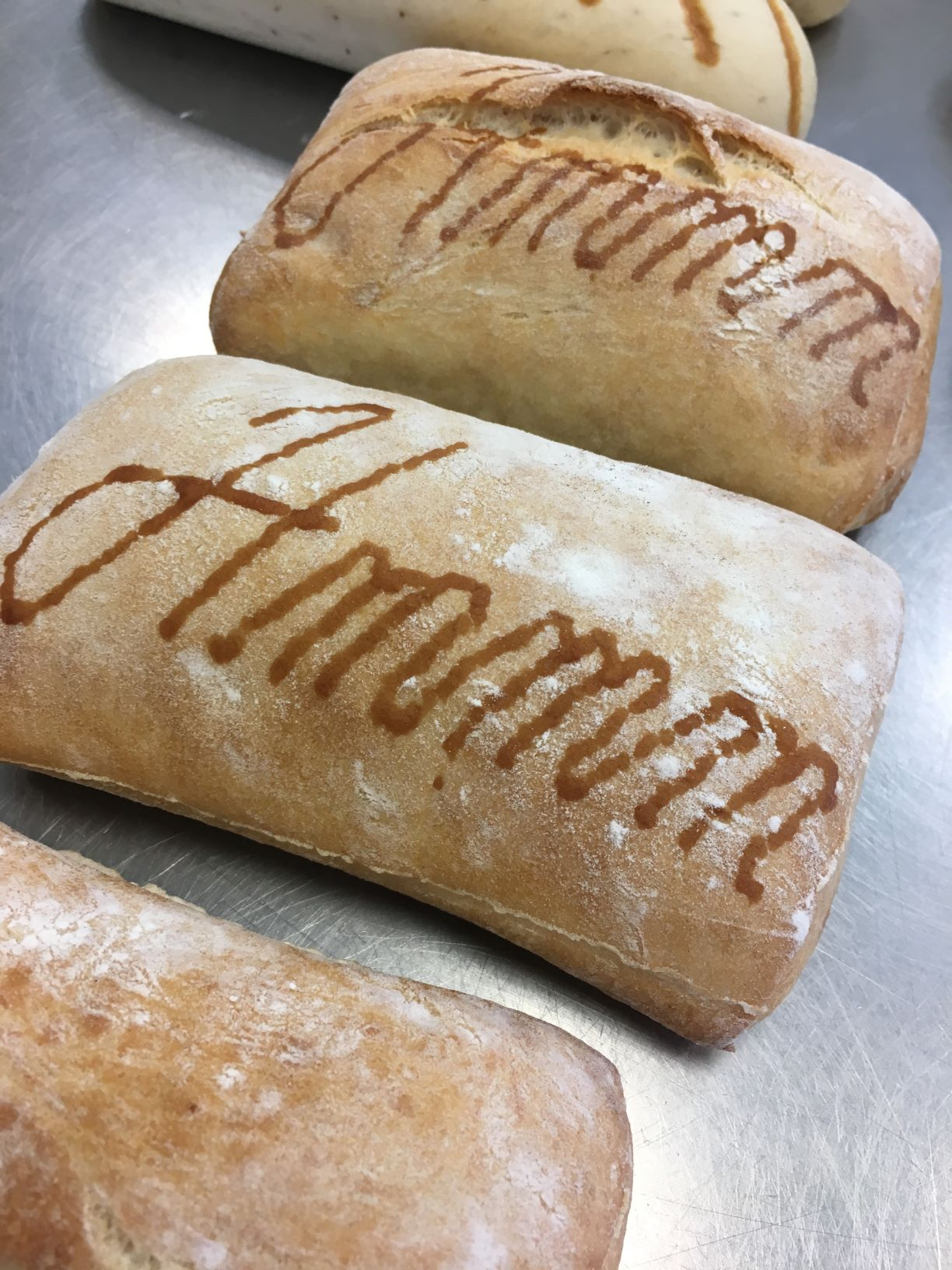 Ciabatta bread with RudinJet edible paste bread decorations made by FoodJet food depositor