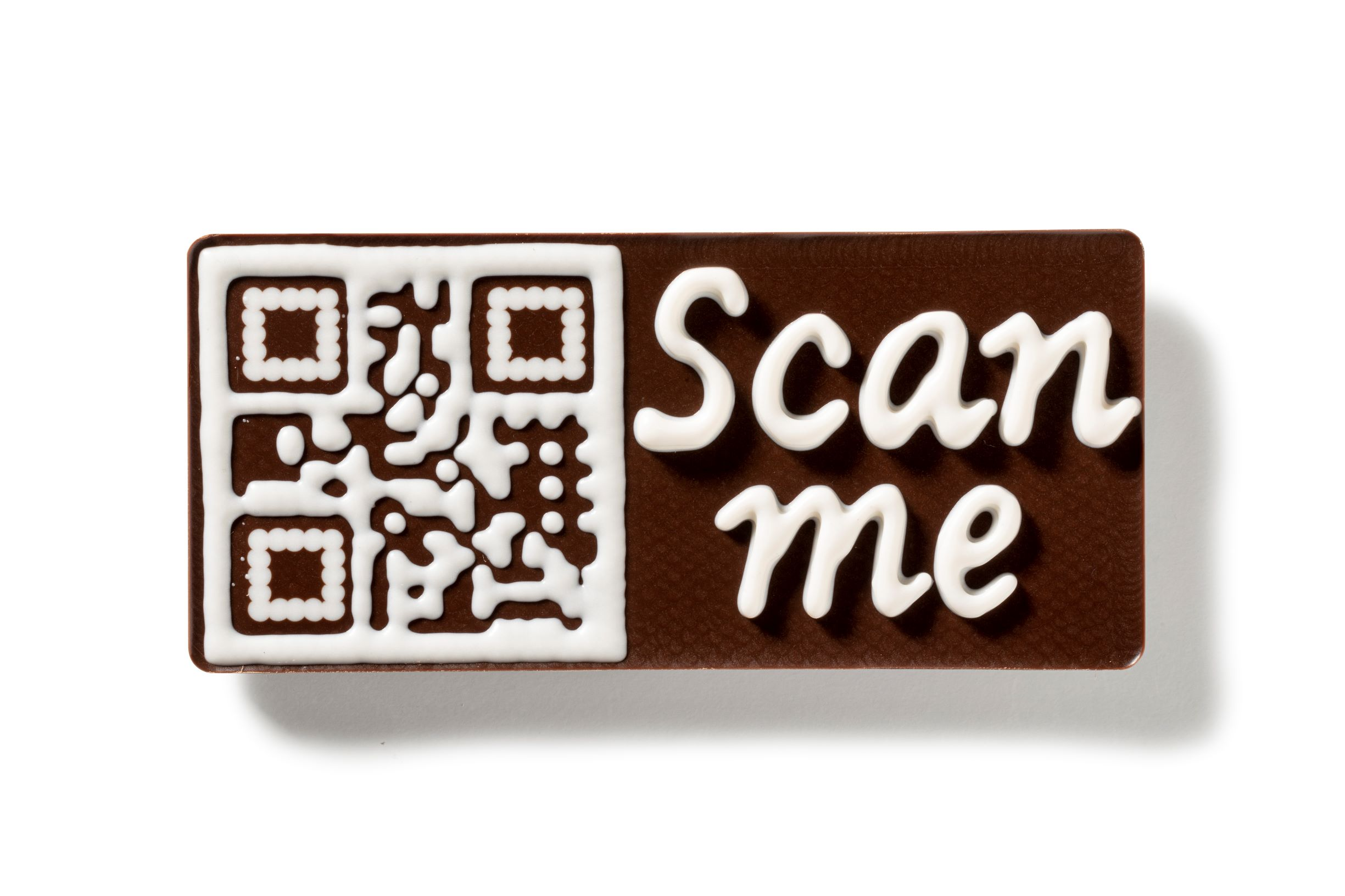 Milk chocolate bar with 3D QR-code printed in white chocolate by FoodJet tempered chocolate depositor