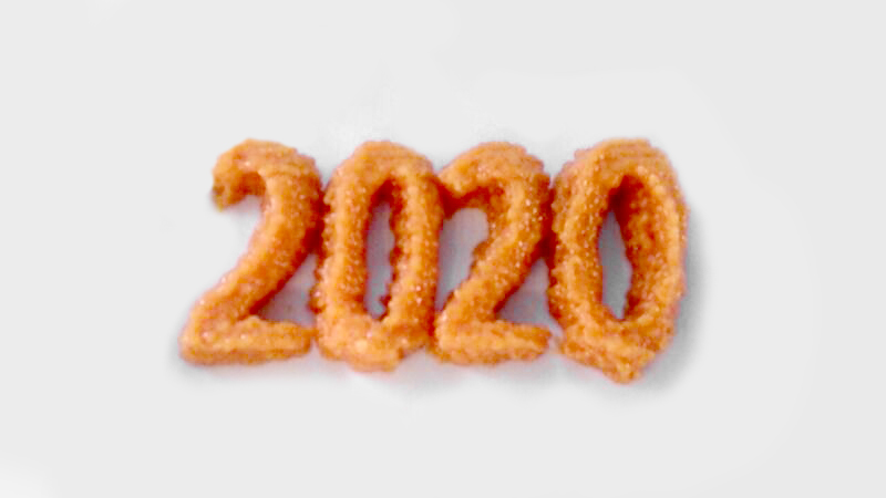 The year 2020 3D printed with carrot puree by a FoodJet 3D food printer