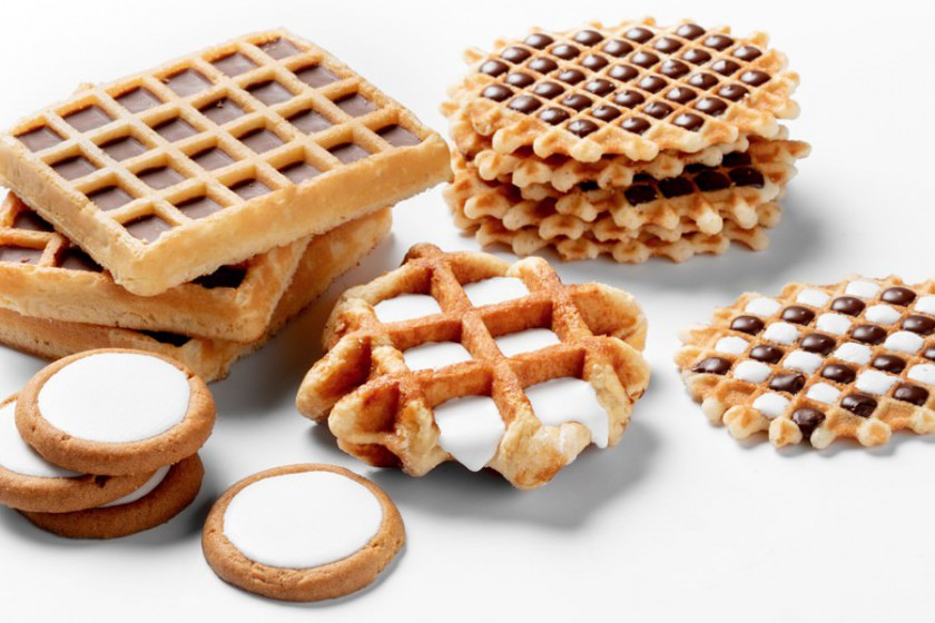 Various waffles with cavity filled with chocolate by a FoodJet food depositor
